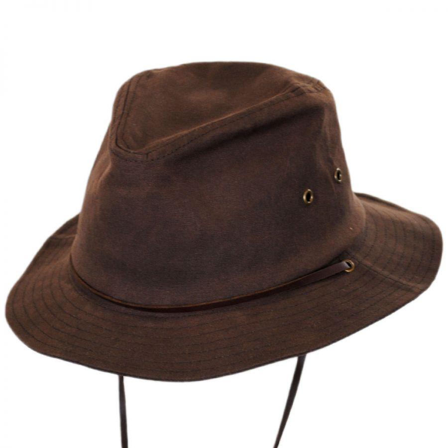 Brixton Hats Penn Waxed Cotton Safari Fedora Hat Fabric 92c2b2a63b3