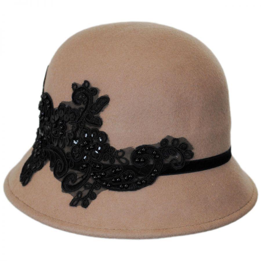 abb8a7170da Callanan Hats Lace and Sequins Wool Felt Cloche Hat Cloche   Flapper ...
