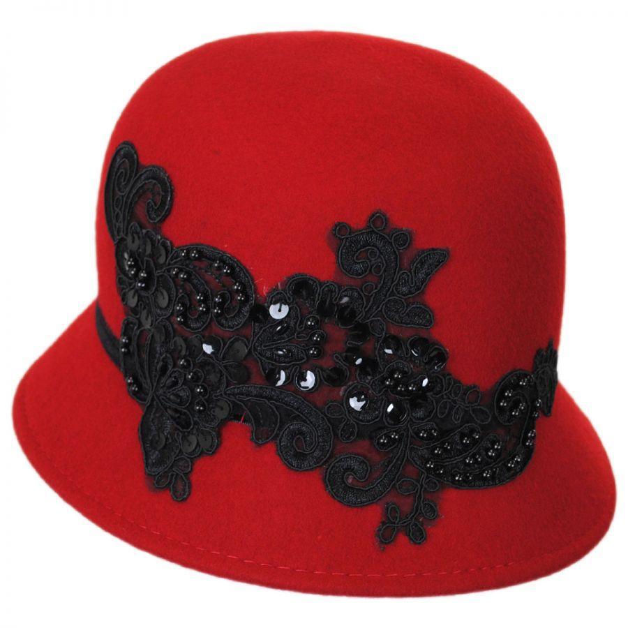 d5de329c2 Lace and Sequins Wool Felt Cloche Hat