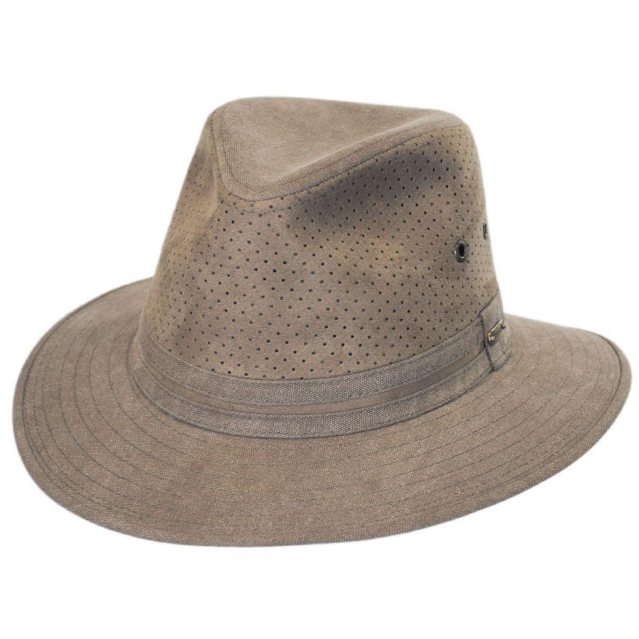 Perforated Crown Canvas Safari Fedora Hat alternate view 1 94b28665044
