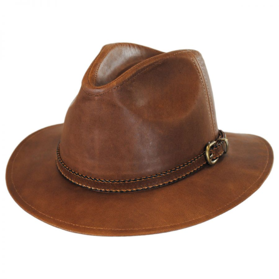 Stetson Goat Leather Safari Fedora Hat Leather Fedoras 074eecc7c05