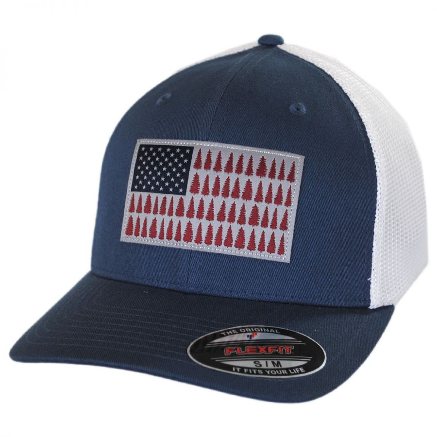 Columbia Sportswear Tree Flag Mesh Flexfit Fitted Baseball Cap All ... 24c7df89c6a