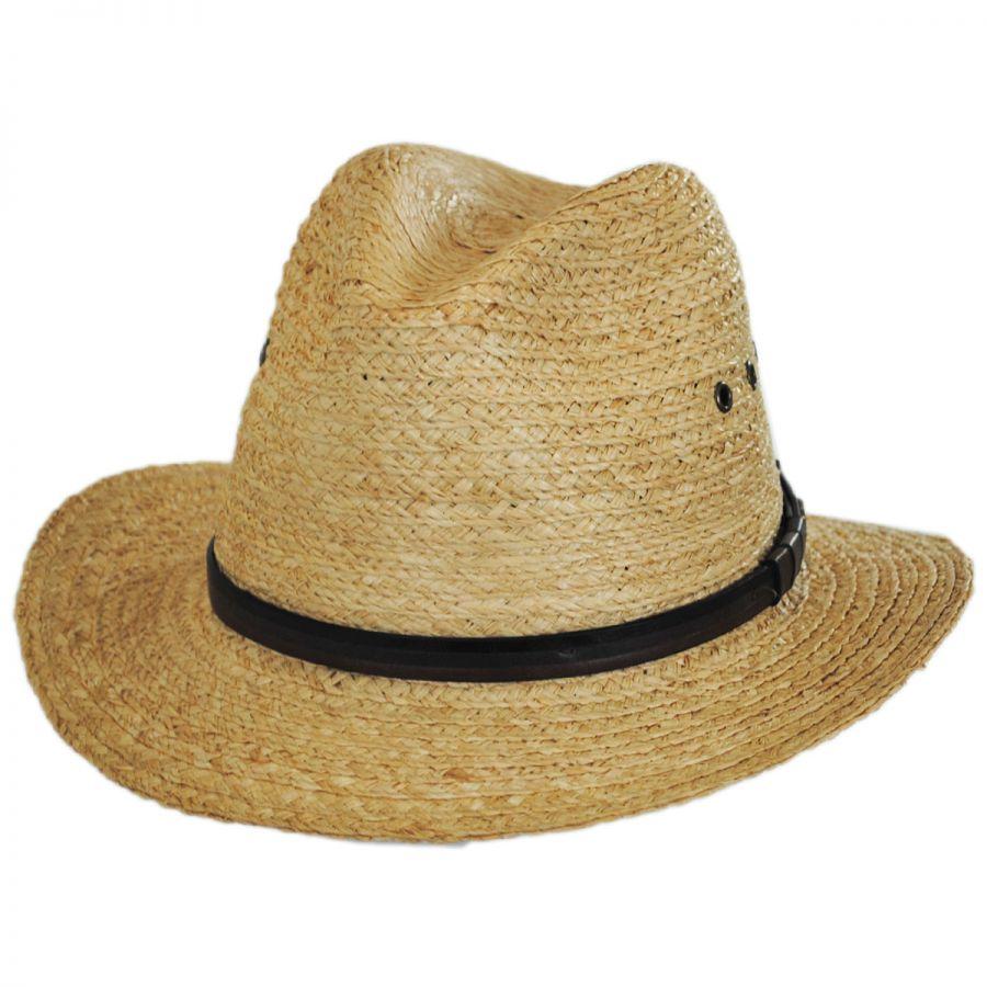 Tommy Bahama Raffia Straw Safari Fedora Hat Straw Fedoras 91ea61b71c7
