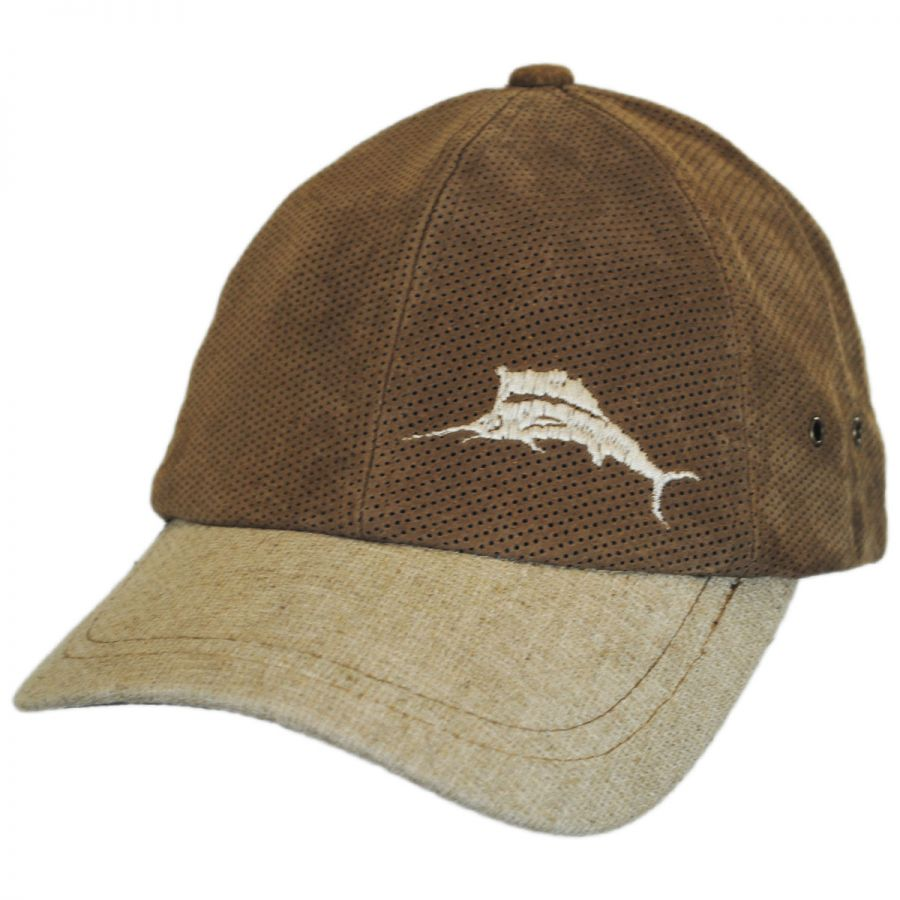 5cc0662fdd50cf Tommy Bahama Perforated Suede Strapback Baseball Cap Dad Hat All ...