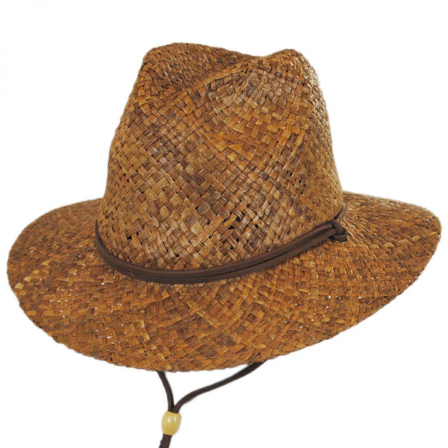 078d17f313c63 Dorfman Pacific Company Anza Chincord Raffia Straw Safari Fedora Hat ...