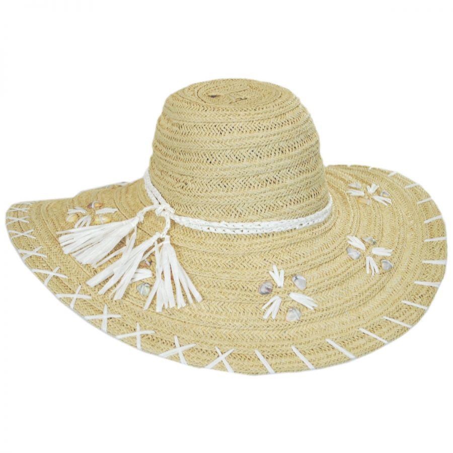 San Diego Hat Company Shell Whipstitch Toyo Straw Floppy Hat Sun Hats d672352fc