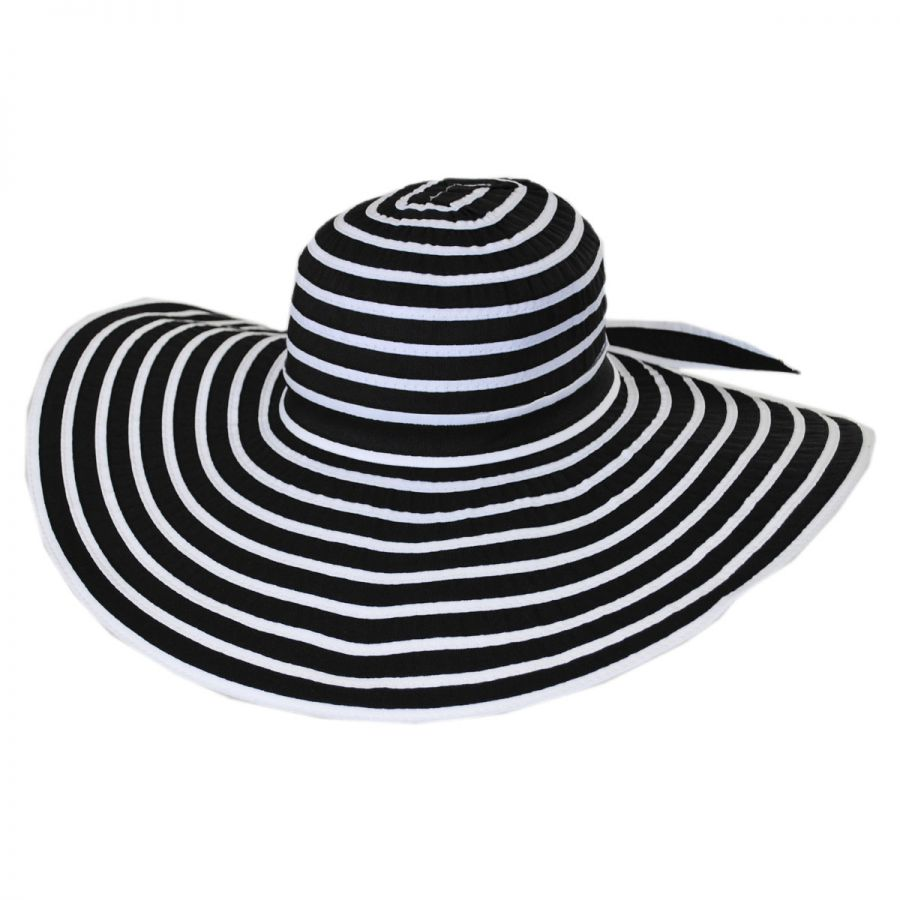 Jeanne Simmons Black and White Ribbon Sun Hat Sun Hats bfddc2dccf7