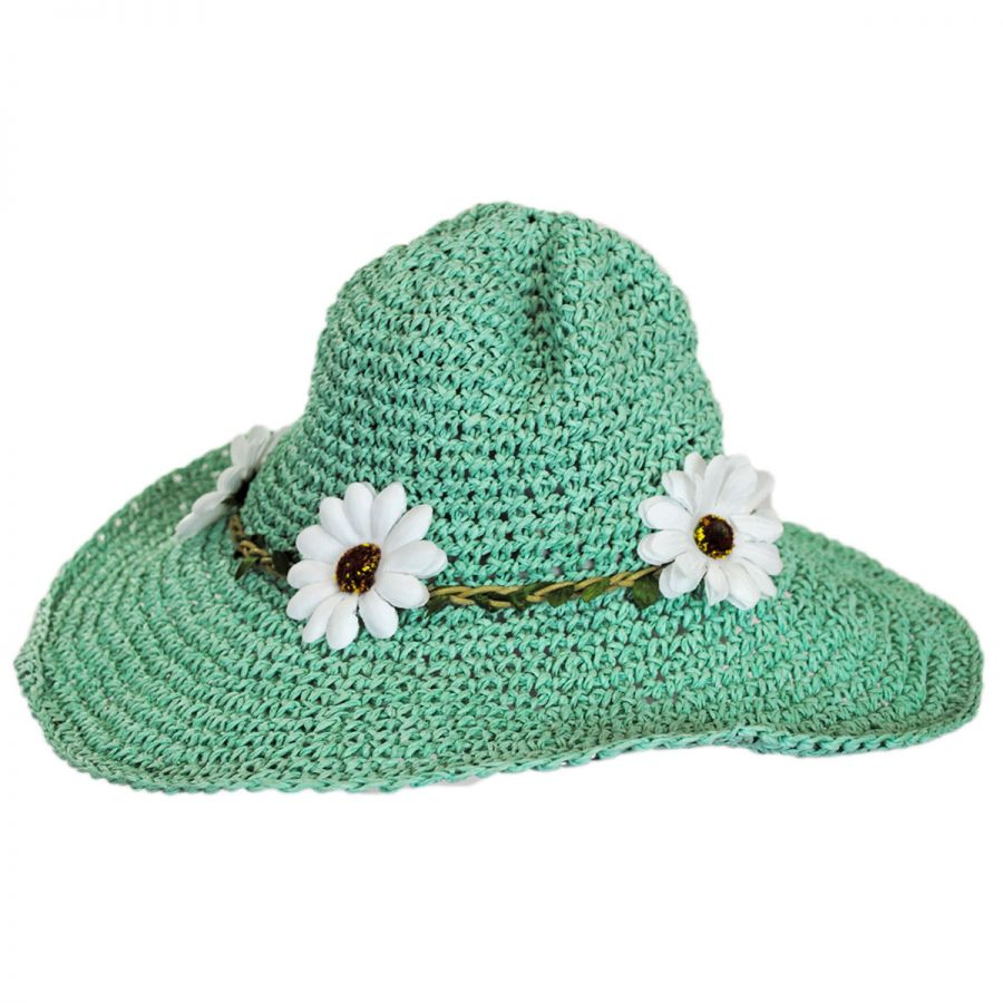 Jeanne Simmons Kids  Daisy Crochet Toyo Straw Sun Hat Girls fb6d0a8b7e48