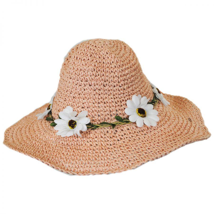 Jeanne Simmons Kids  Daisy Crochet Toyo Straw Sun Hat Girls f1528675f8f