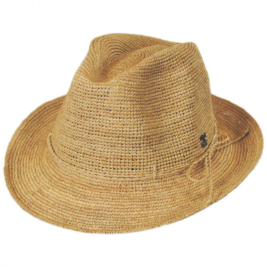 33332b5d2ae Callanan Hats Crochet Raffia Straw Stingy Brim Fedora Hat Fedoras