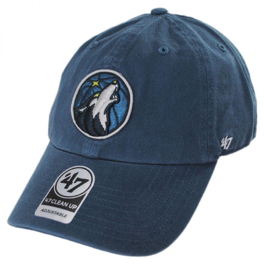 74d2bbcb2c1da 47 Brand Minnesota Timberwolves NBA Clean Up Strapback Baseball Cap Dad Hat