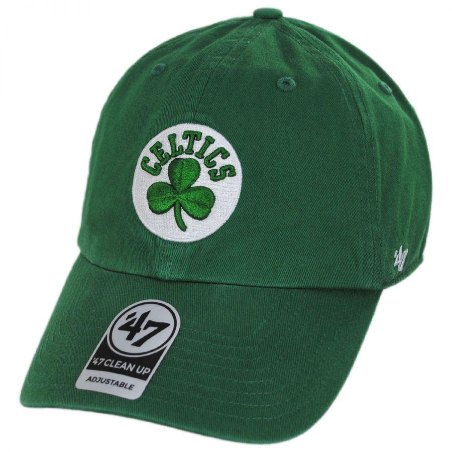 47 Brand Boston Celtics NBA Clean Up Strapback Baseball Cap Dad Hat ... 2296dedbeec