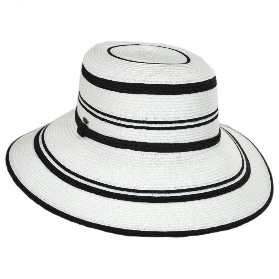 Black and White Stripes Toyo Straw Sun Hat alternate view 5 · Scala a9efb378631a