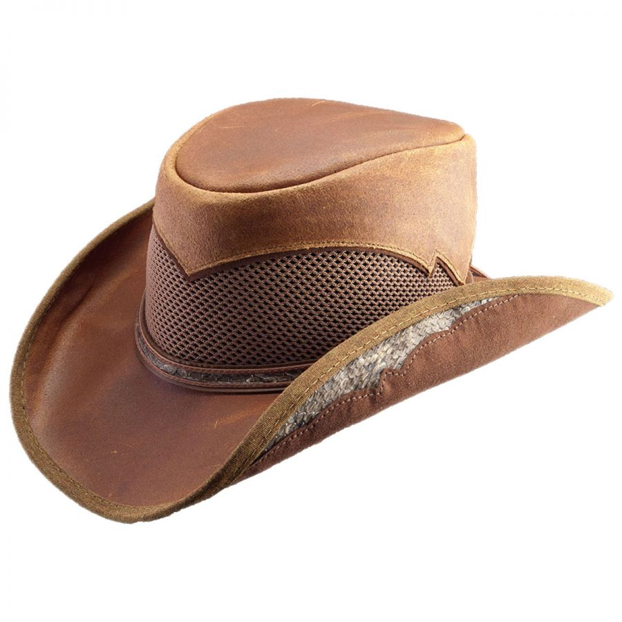 Head  N Home Durban Leather and Mesh Western Hat Western Hats a7c27cda426