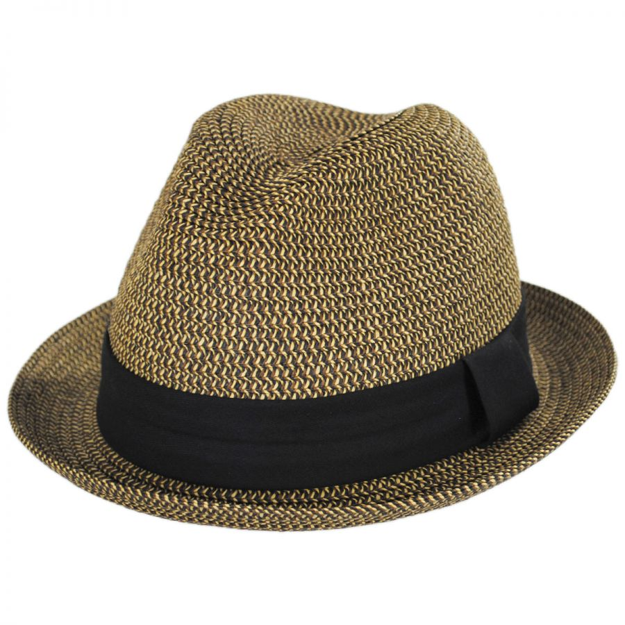 Toucan Collection Heather Packable Toyo Straw Trilby Fedora Hat Fedoras dd58f5536fe