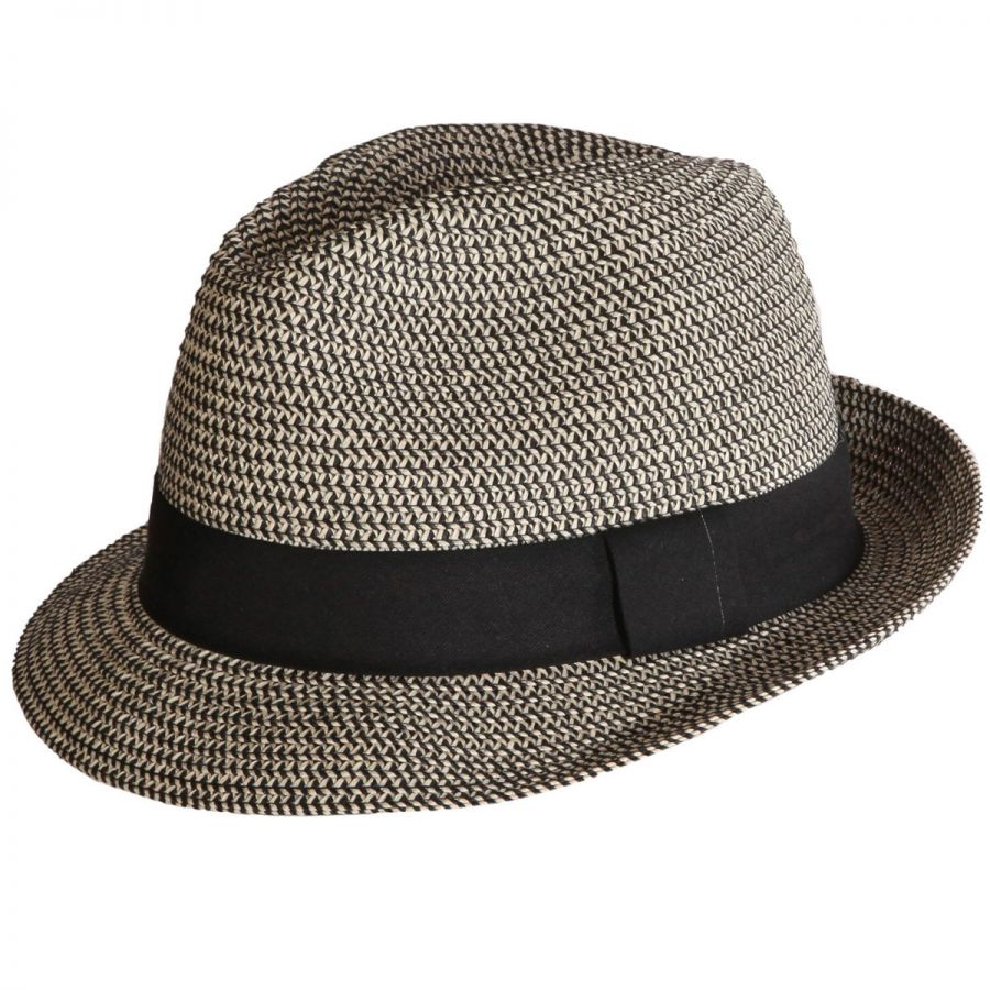 cad506271f8 Toucan Collection Heather Packable Toyo Straw Trilby Fedora Hat Fedoras