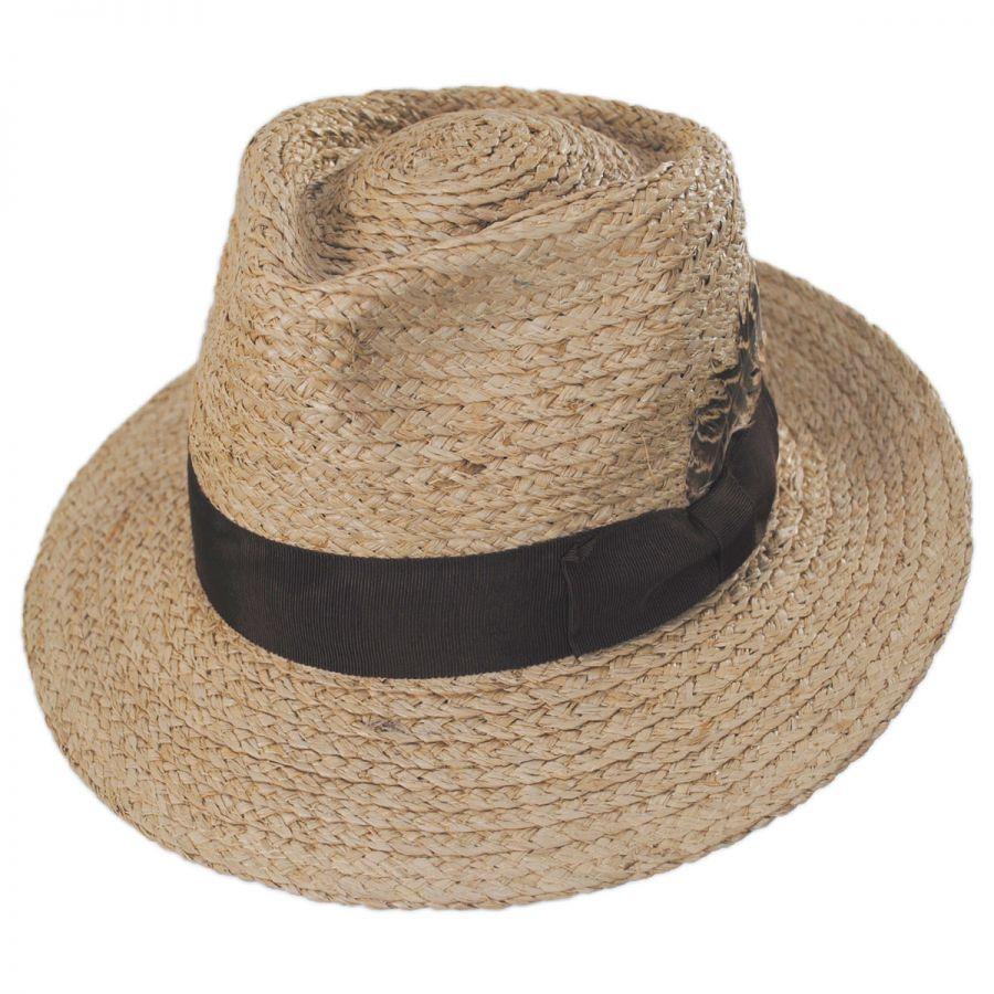 73737c824a8a9a Brixton Hats Crosby Raffia Straw Fedora Hat Straw Fedoras