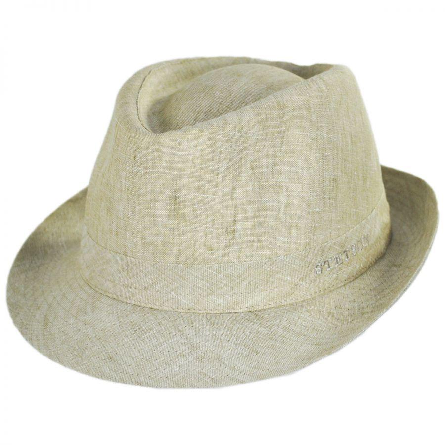 30d11566b77e0 Stetson Linen Delave Trilby Fedora Hat Fabric