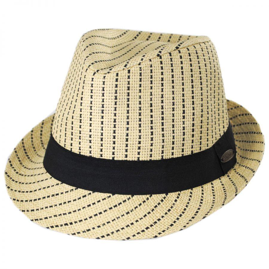 1e9d714a Panama Jack Pinstripe Toyo Straw Trilby Fedora Hat Straw Fedoras