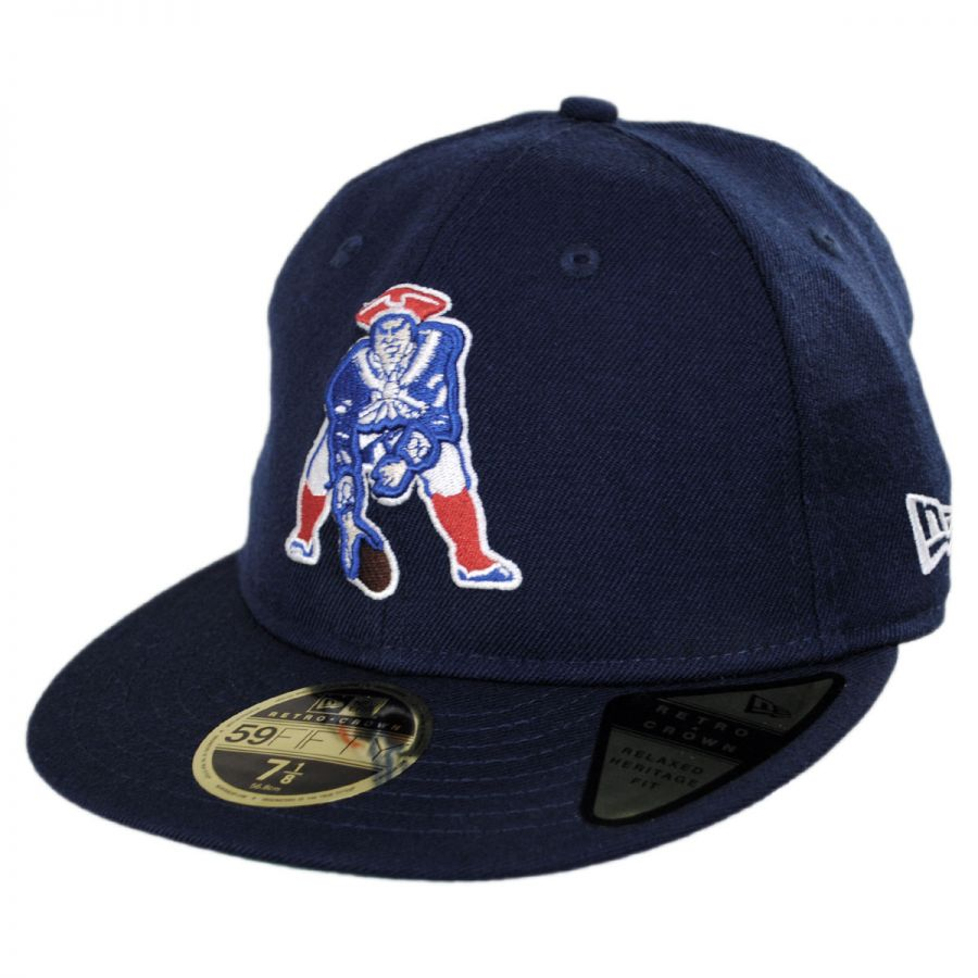 New Era New England Patriots NFL Retro Fit 59Fifty Fitted Baseball Cap NFL Football Caps