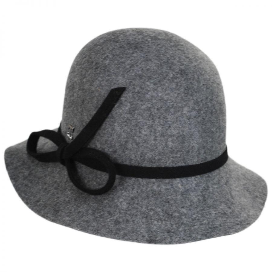 81b4a8f7e1a Callanan Hats Bow Accent Wool Felt Cloche Hat Cloche   Flapper Hats