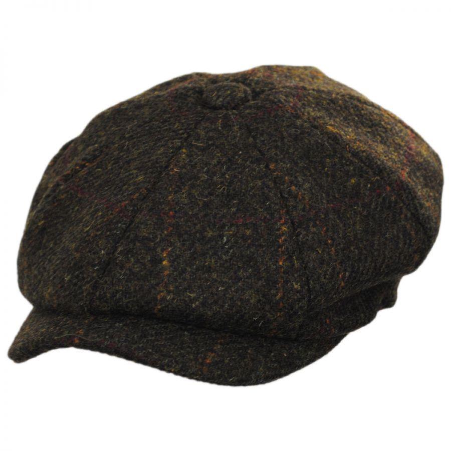 291bdb122af Failsworth Carloway Harris Tweed Olive Wool Newsboy Cap Newsboy Caps