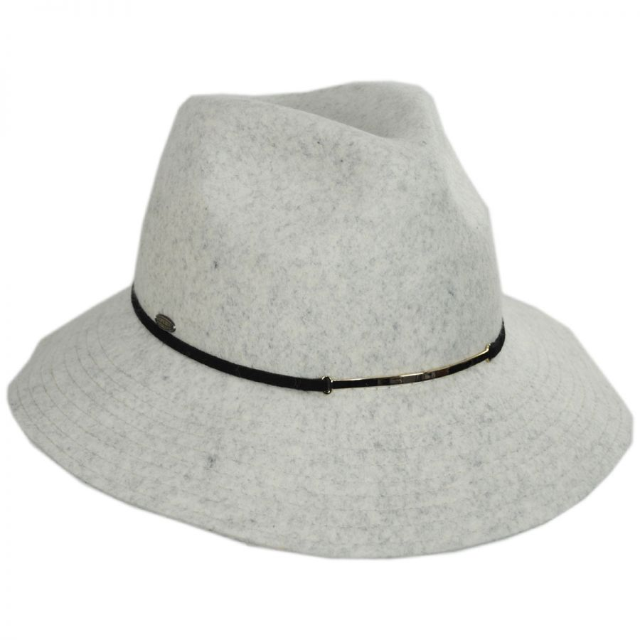 Scala Safari Gold Accent Wool Felt Fedora Hat Casual Hats dbbb63ee938a