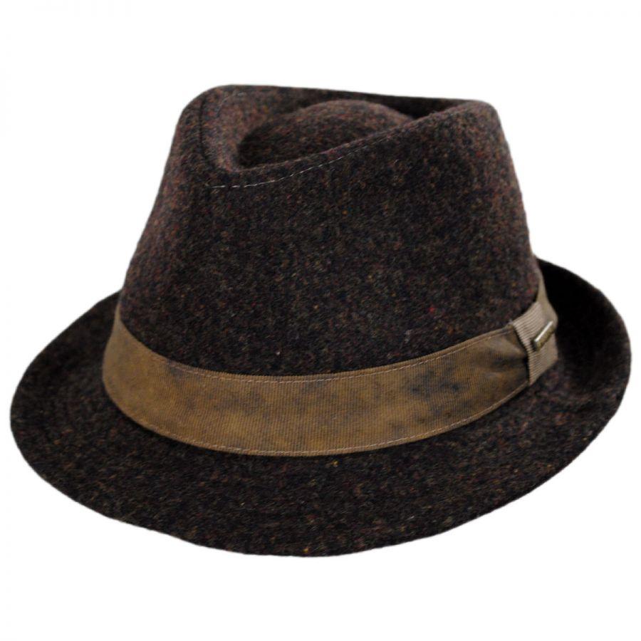 Stetson Plaid Wool Blend Fedora Hat Stingy Brim   Trilby 69468000768