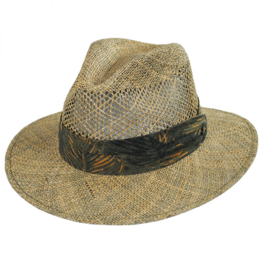 d954f68e77fb3 Tommy Bahama Los Cabos Seagrass Fedora Hat Straw Fedoras