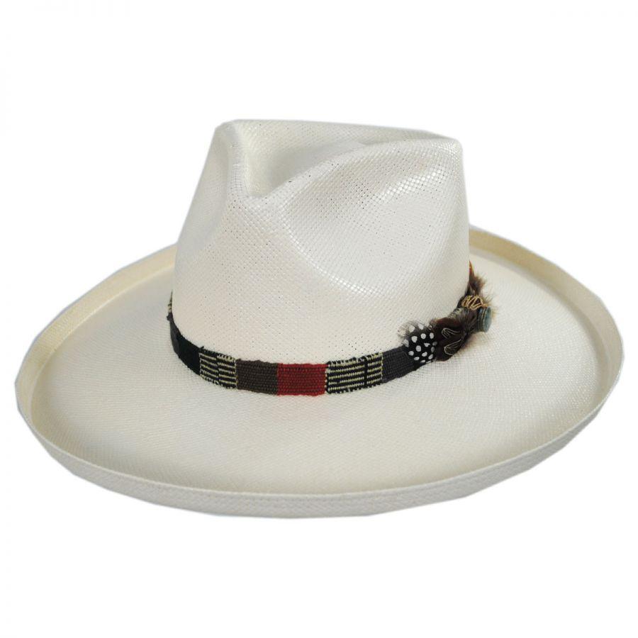 2a2f7eb9 Carlos Santana Sumatra Shantung Straw Fedora Hat Straw Fedoras