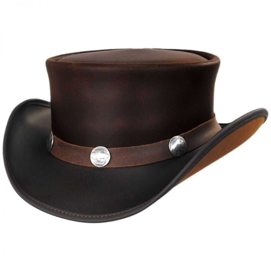 Head  N Home Buffalo Pale Rider Leather Top Hat Top Hats 3f24ff69488