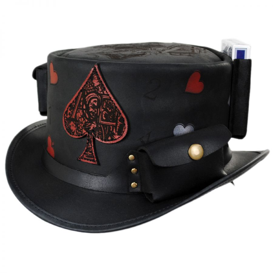 4e53b0dbe72 Head  N Home Poker Face Leather Top Hat Top Hats