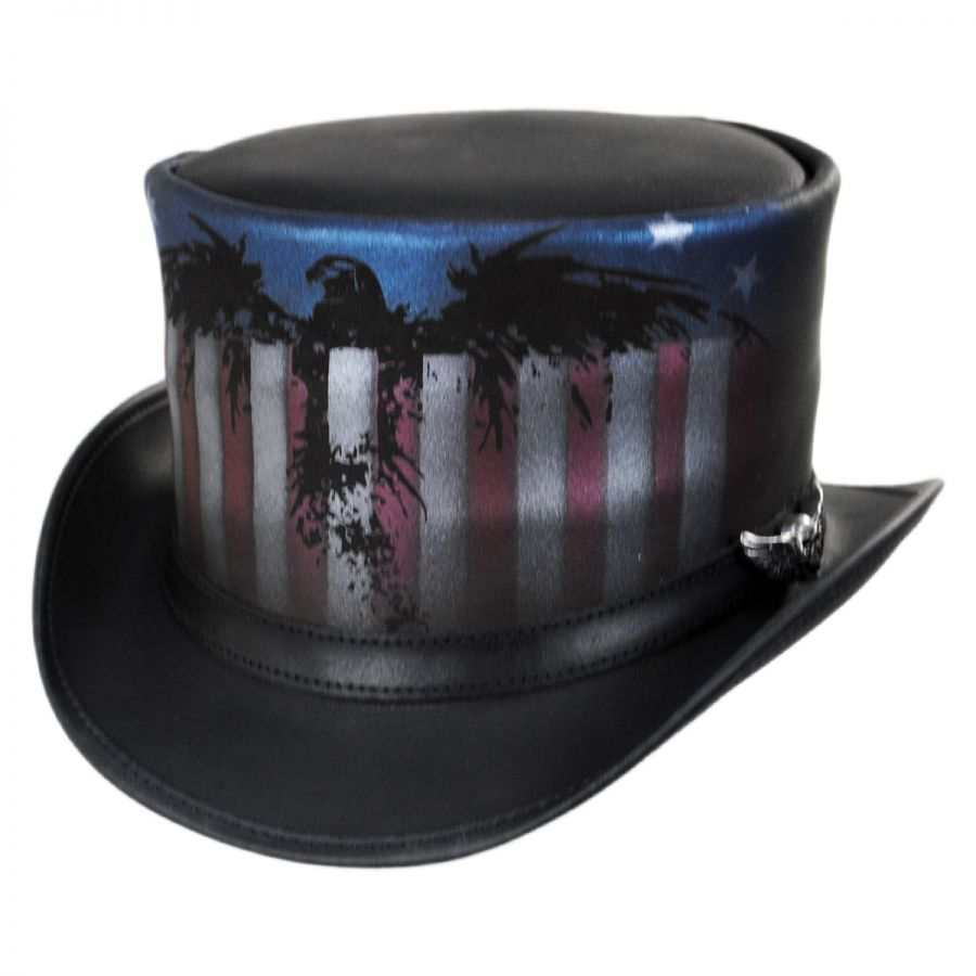 8a949f292b8 Head  N Home USA Leather Top Hat Top Hats