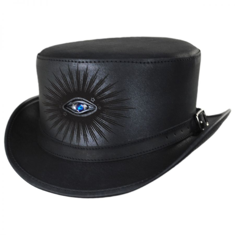 cc3a8d2ea3adf Head  N Home Evil Eye Leather Top Hat Top Hats