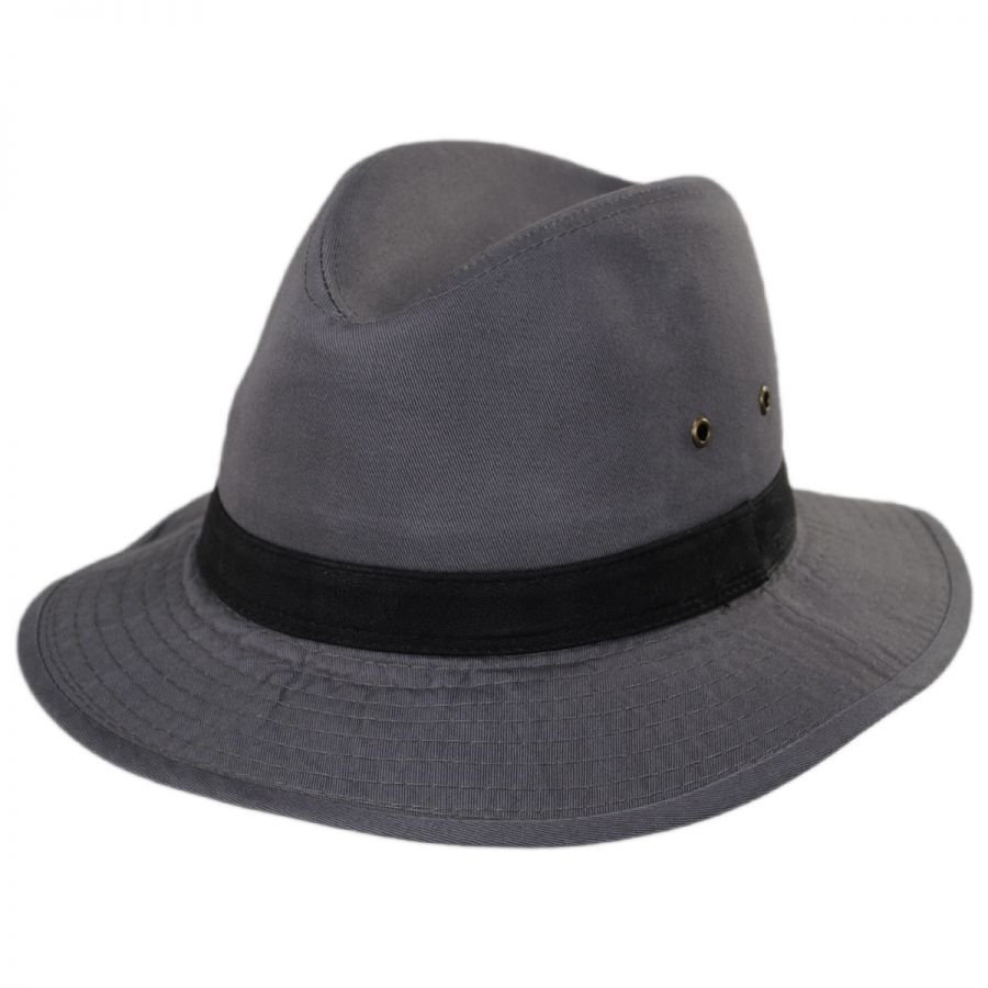 54ec8ef3 Dorfman Pacific Company Packable Cotton Twill Safari Fedora Hat All ...