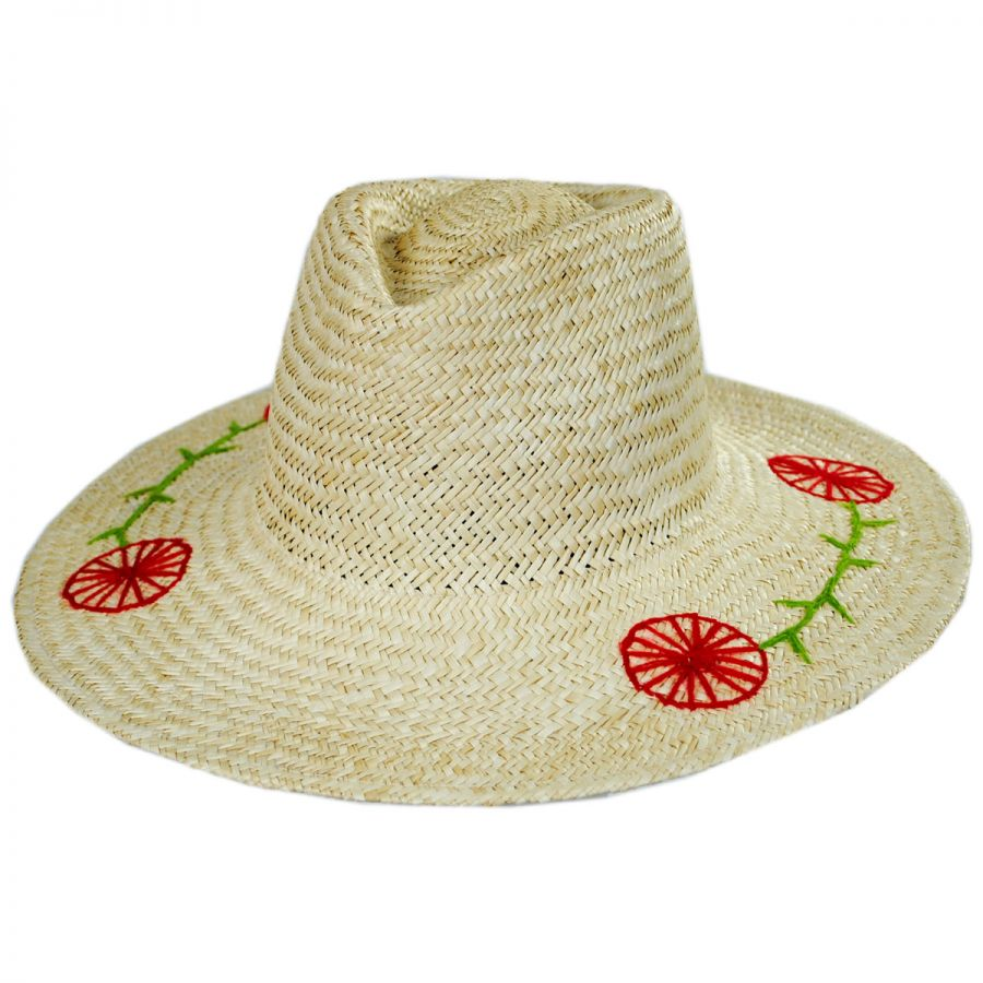 Brixton Hats Joanna Embroidered Brim Palm Straw Fedora Hat Straw Fedoras b98142efc07