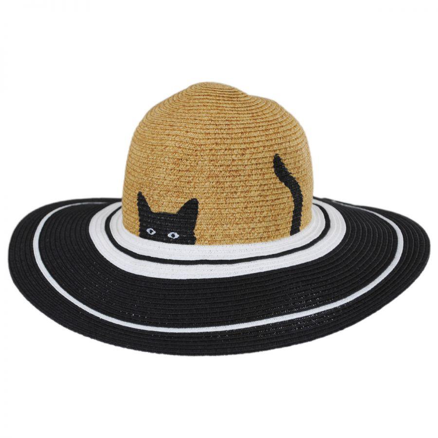 San Diego Hat Company Peeking Kitty Kids Toyo Straw Blend Sun Hat ... 7e87474807d