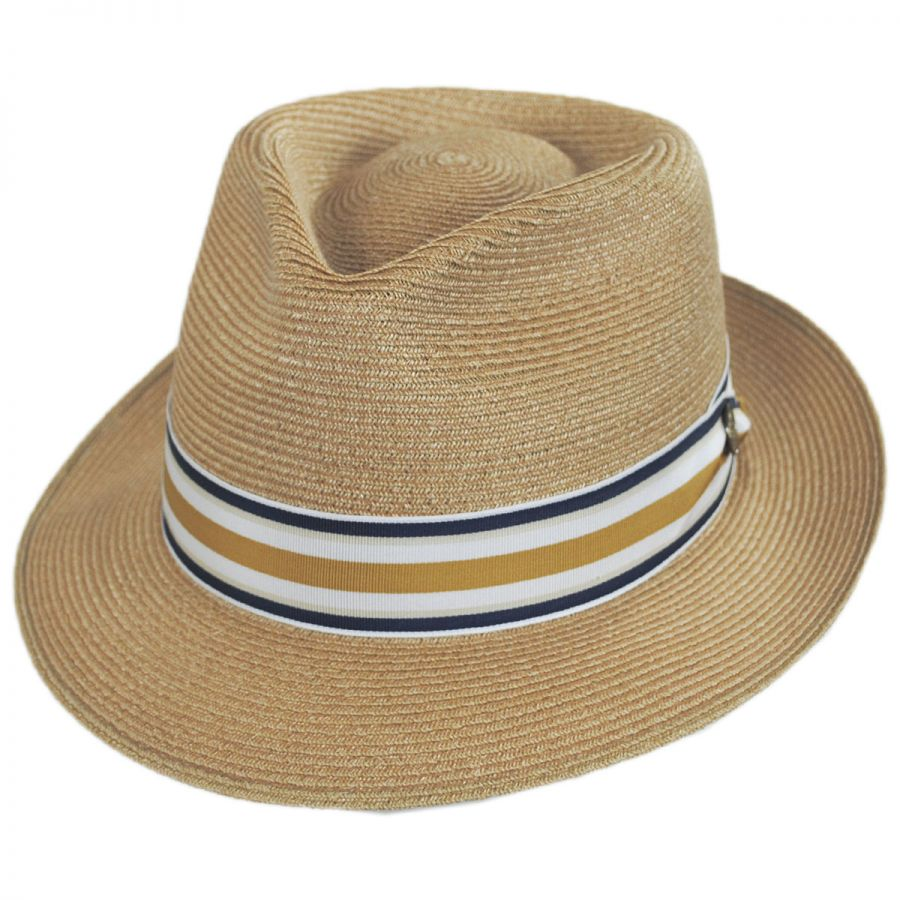 2befbad1843 Stetson Luciano Hemp Straw Fedora Hat Straw Fedoras