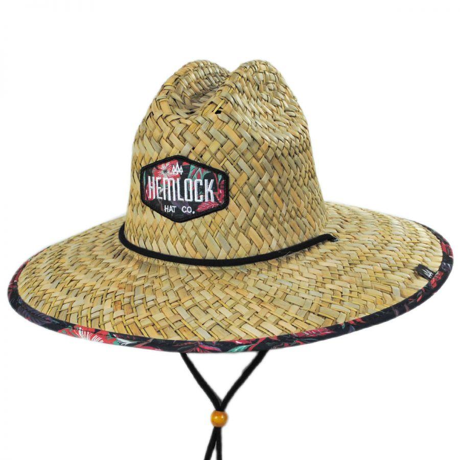 Hemlock Hat Co Floral Straw Lifeguard Hat Straw Hats