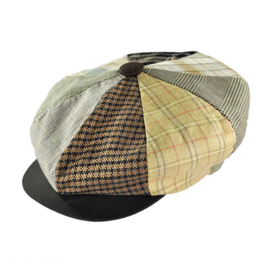 91b1883dd8d8d Capas Headwear Patchwork Linen Big Apple Cap Flat Caps