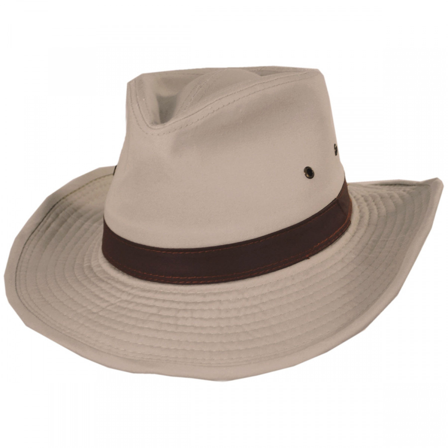 645228334ba Dorfman Pacific Company Cotton Twill Outback Fedora Hat All Fedoras