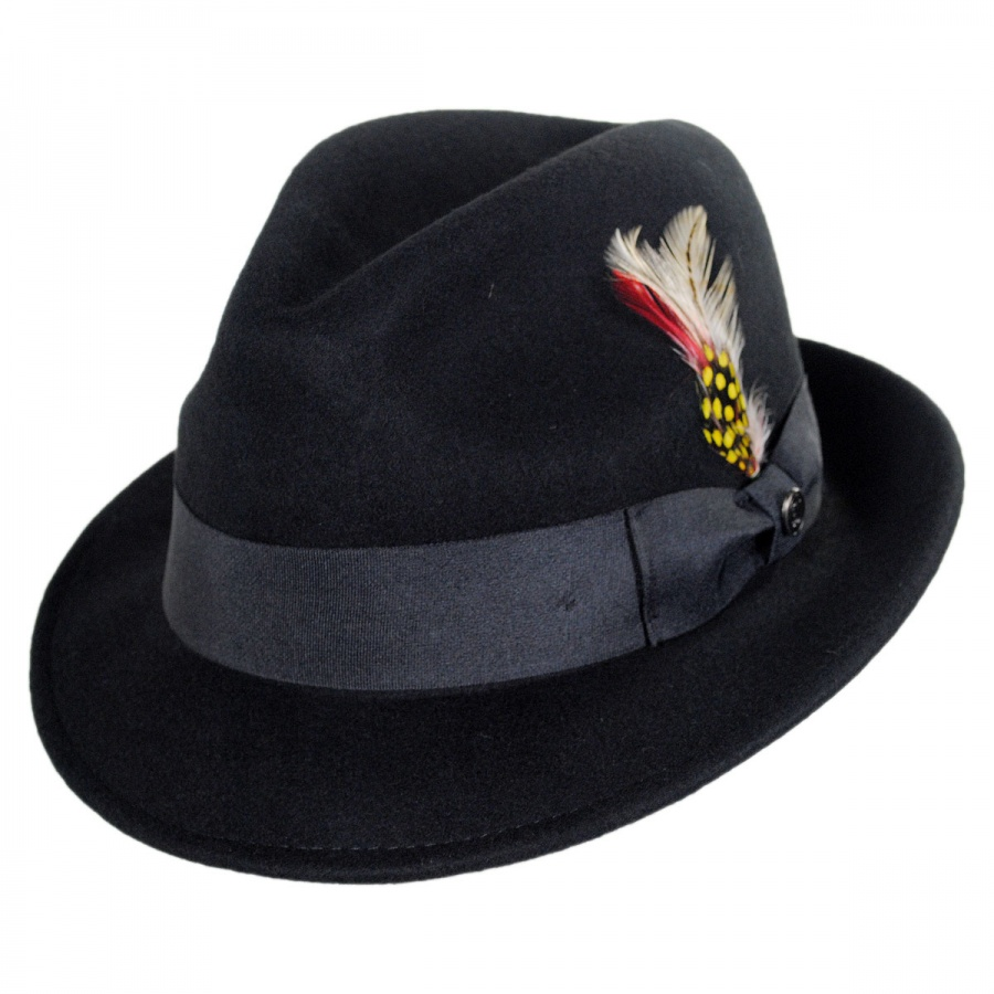 Jaxon Hats Blues Crushable Wool Felt Trilby Fedora Hat All