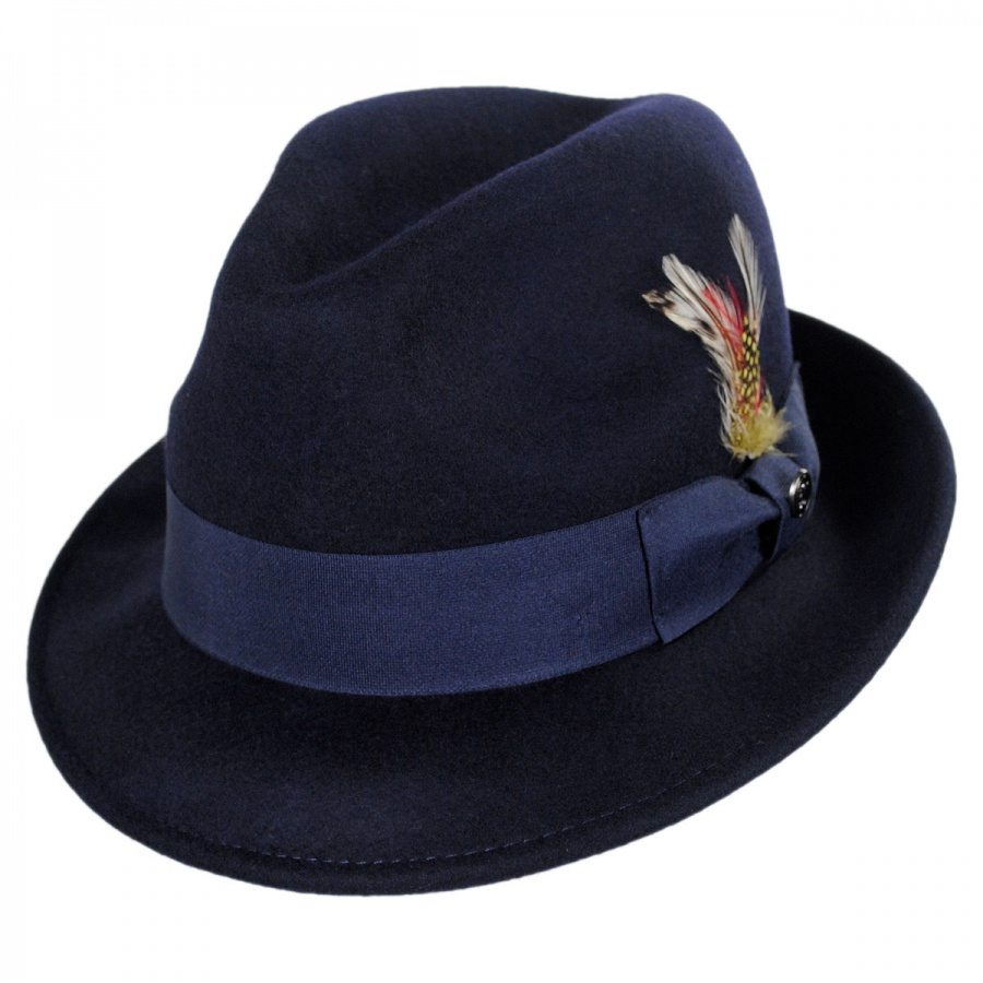 Jaxon Hats Blues Crushable Wool Felt Trilby Fedora Hat All Fedoras 09f5b1d688b