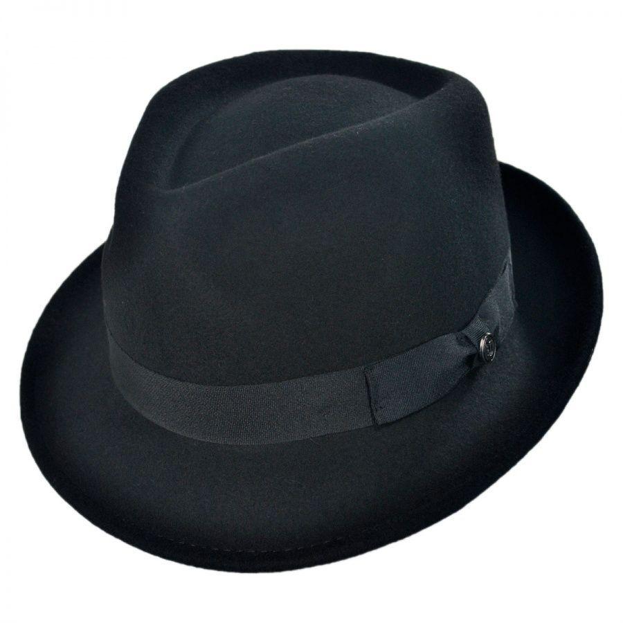 92d69dc9 Jaxon Hats Detroit Wool Felt Trilby Fedora Hat - Black All Fedoras