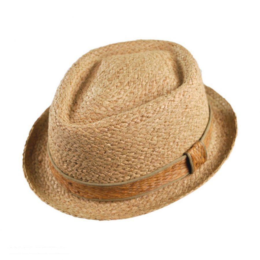 13e932fdd Raffia Straw Diamond Crown Fedora Hat
