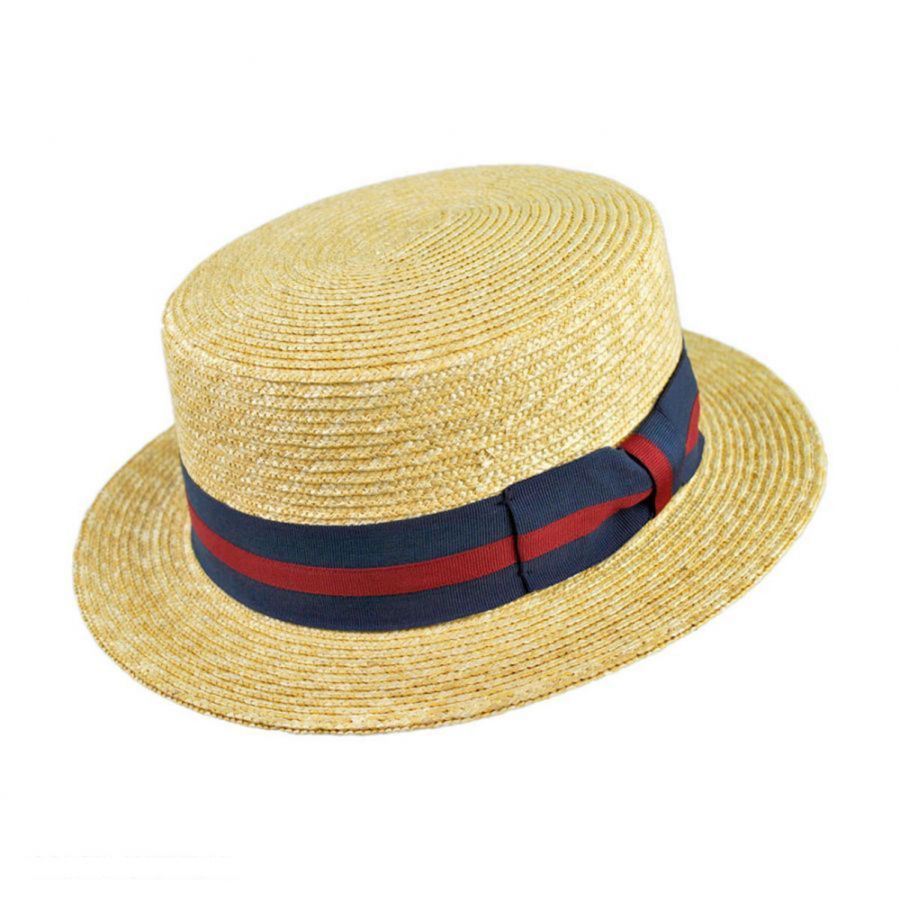 Jaxon Hats Striped Band Wheat Straw Skimmer Hat Straw Hats