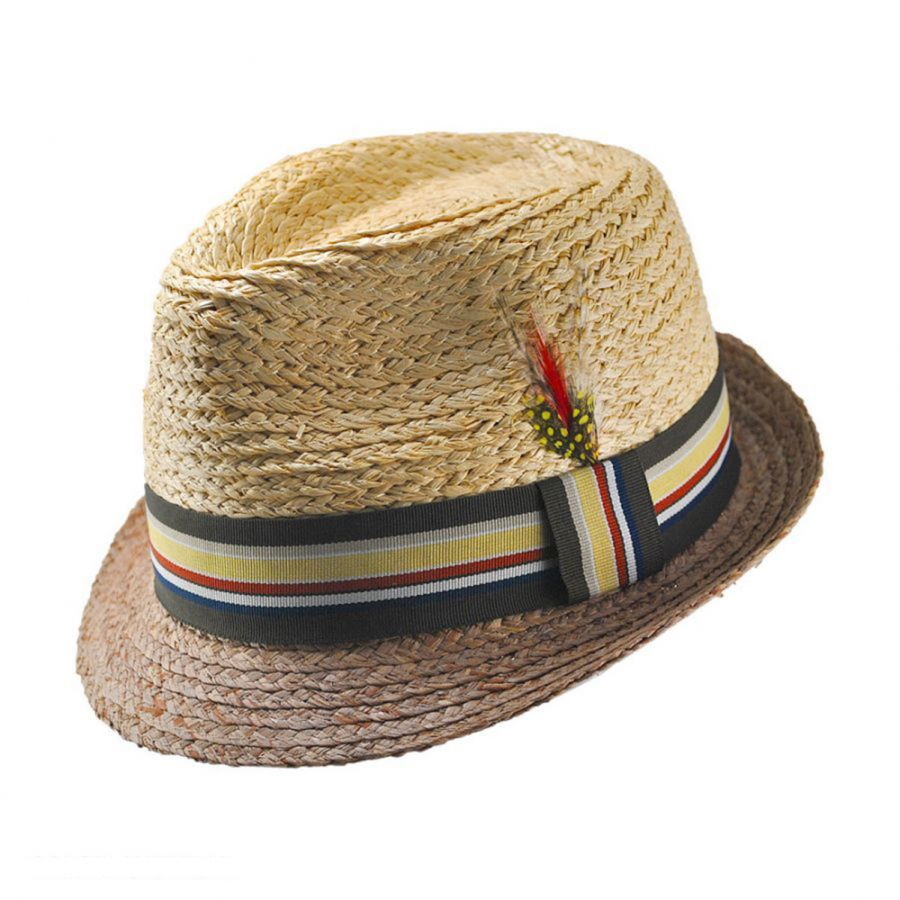 e07e19782049a Jaxon Hats Trinidad Raffia Straw Trilby Fedora Hat Stingy Brim   Trilby