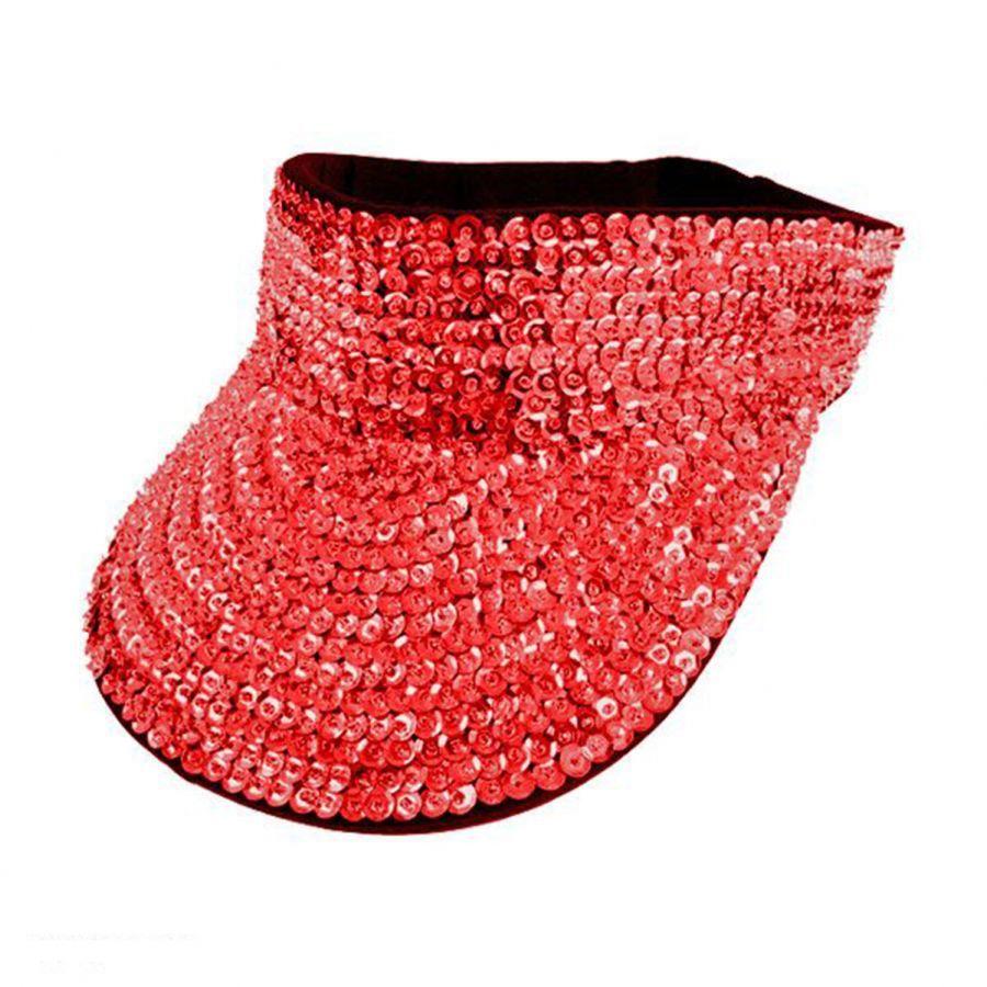 Jc Sequins Sequin Visor Red Sequin Hats