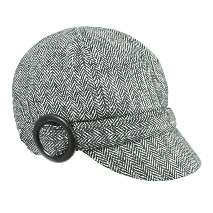 aaf7287fdad Jeanne Simmons Muffy Herringbone Wool Blend Newsy Cap Flat Caps