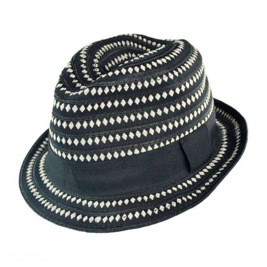 Scala Diamond Ribbon Fabric Fedora Hat All Fedoras de873043935